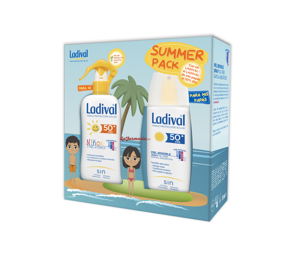 Ladival Protector Solar Summer Pack Spray Adultos 50FPS + Spray Niños 50SPF