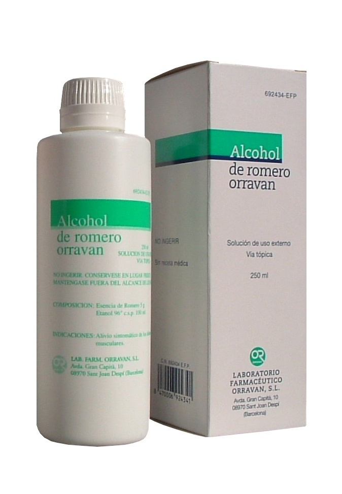 Alcohol romero orravan 50 mg/ml solucion topica 250 ml