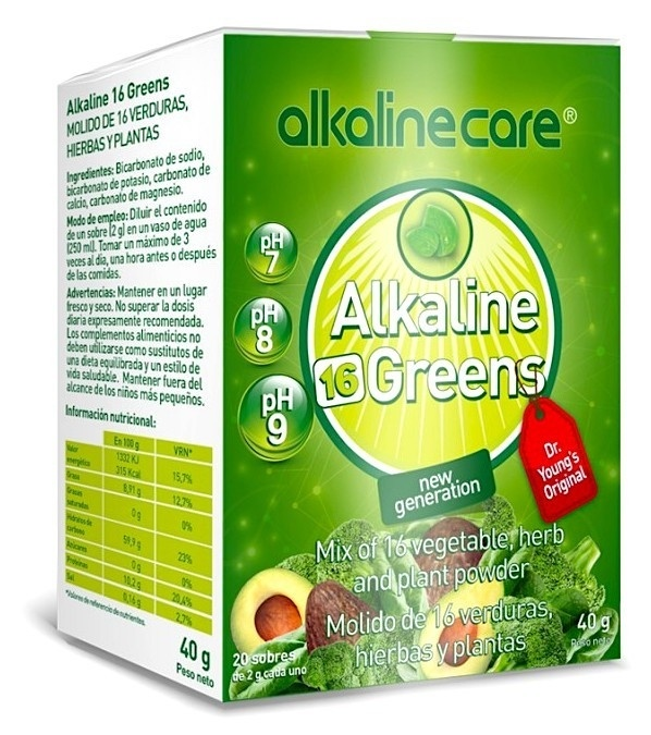PH Greens 16 Superalimento Alkaline Care 20 Sobres