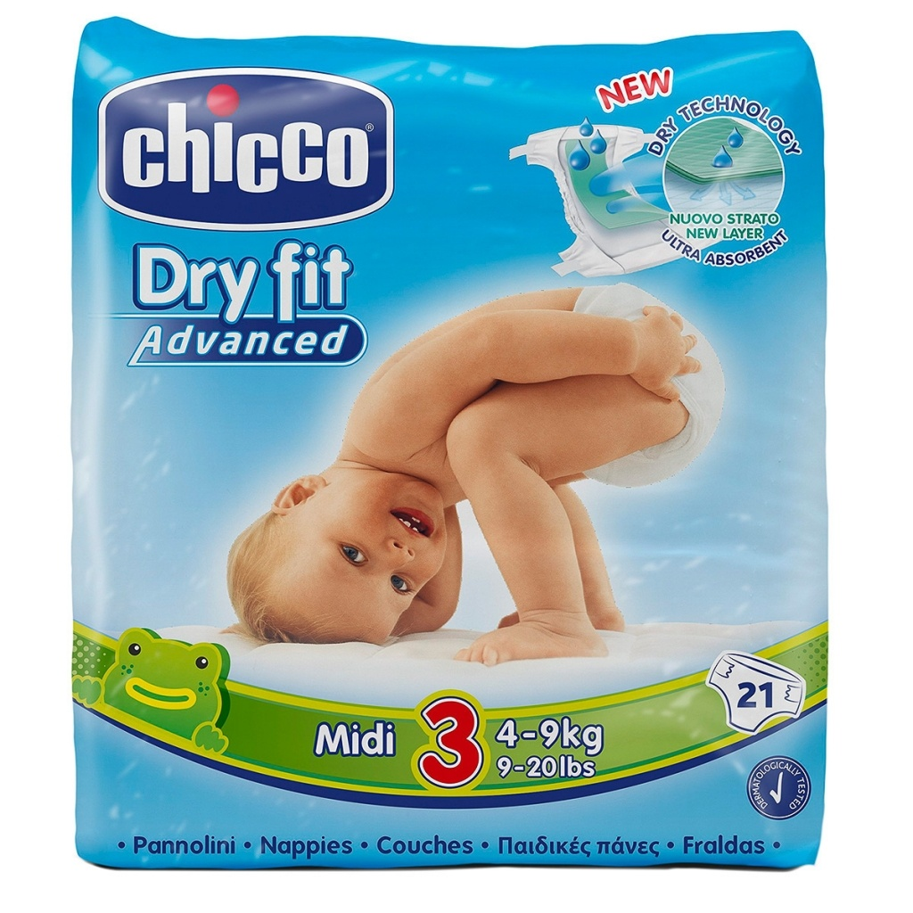 Pañal Dry Fit Midi Chicco 4-9 Kg